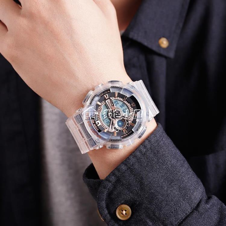 戶外手錶 情侶手錶男女生防水電子錶學生戶外運動透明錶帶超火電子錶潮  新年鉅惠 台灣現貨