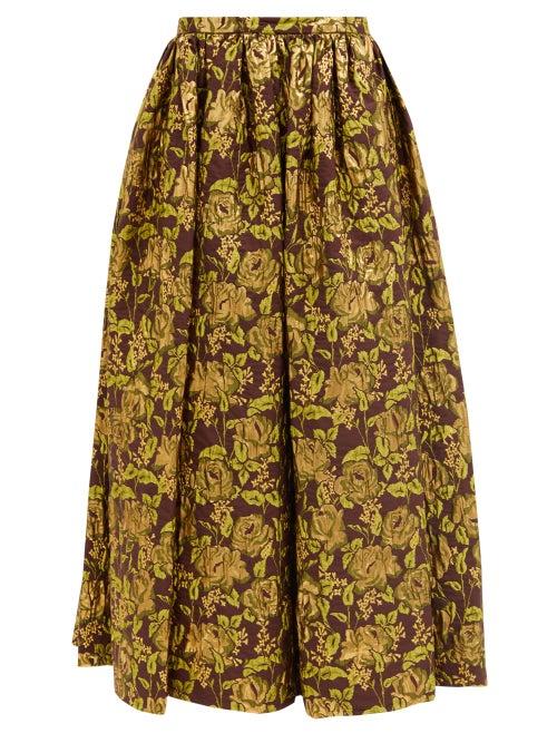 Erdem - Lindie Floral-brocade Maxi Skirt - Womens - Burgundy Gold