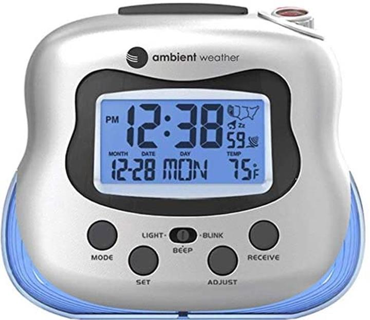 【美國代購】具有室內溫度的環境天氣RC-8370無線電投影鐘 銀色