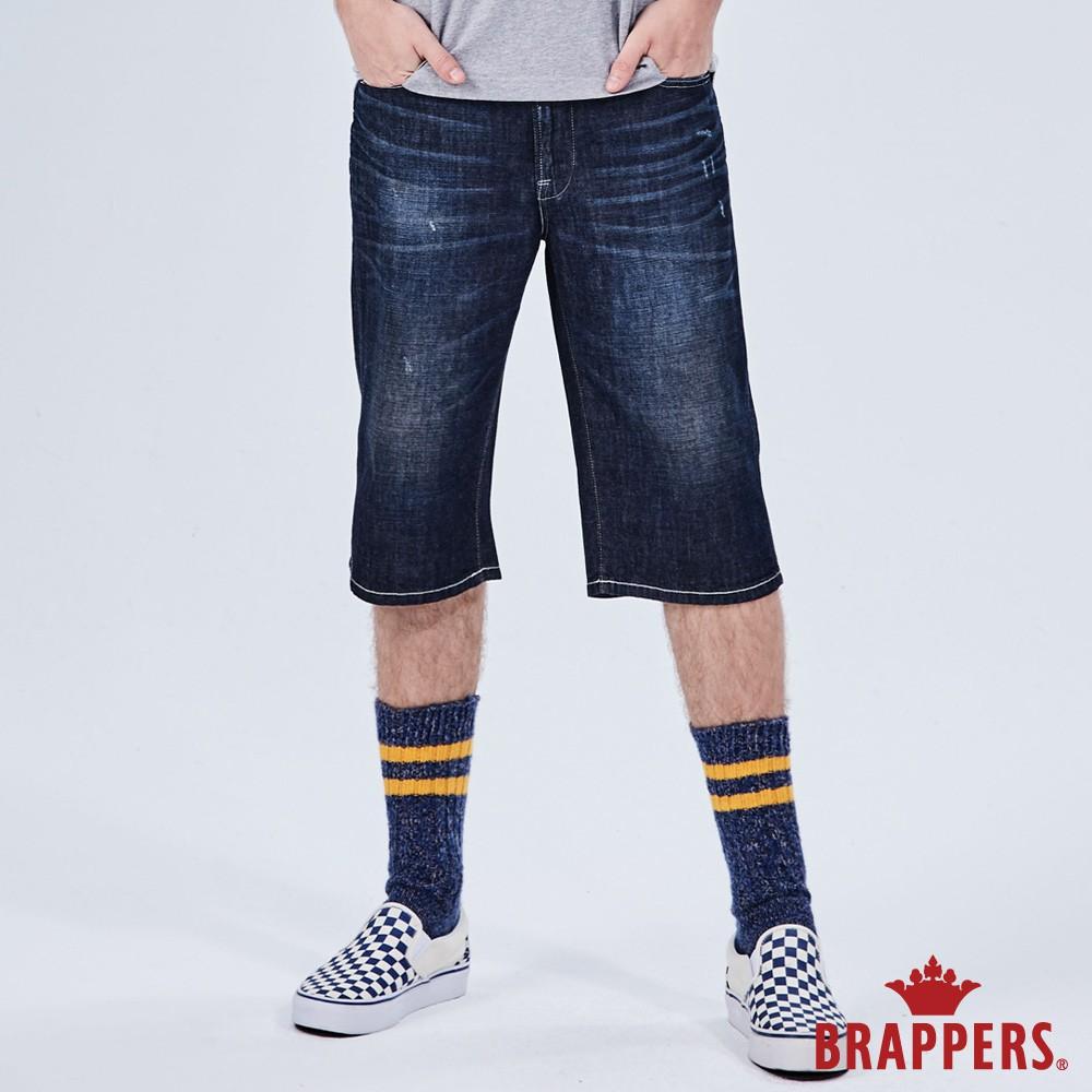 BRAPPERS 男款 HM-中腰系列-全棉五分褲-深藍