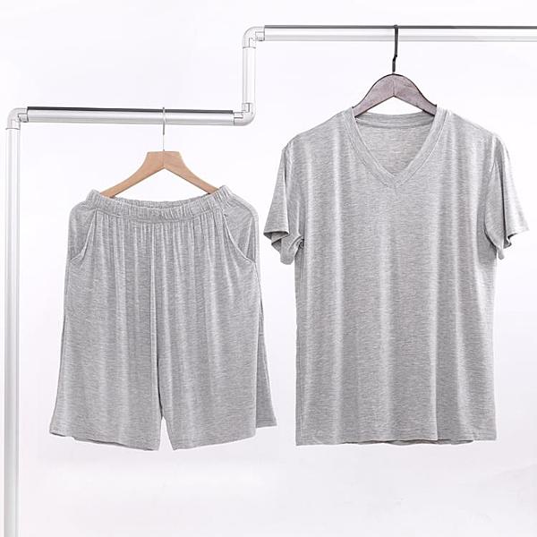 夏季男士莫代爾短袖短褲套裝V領背心薄款寬鬆半袖大碼睡衣家居服 黛尼時尚精品