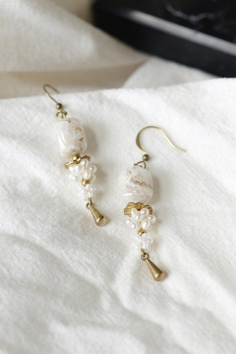 大人系女子限定 海街方石珍珠織花耳環 可改耳夾 手工設計