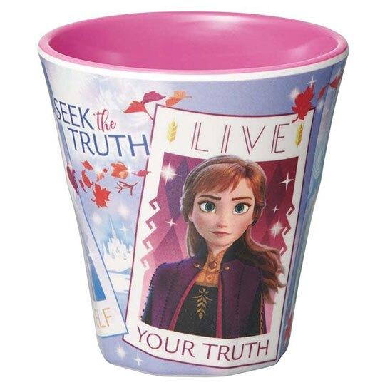 小禮堂 迪士尼 冰雪奇緣 無把美耐皿杯 塑膠杯 兒童水杯 270ml (藍紫 相片框)