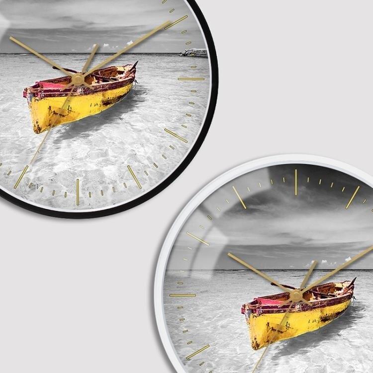 掛鐘北歐個性時尚風景客廳臥室靜音大氣簡約裝飾掛錶圓形金屬  新年鉅惠 台灣現貨