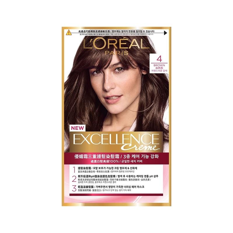 巴黎萊雅優媚霜三重護髮染髮霜-4自然棕