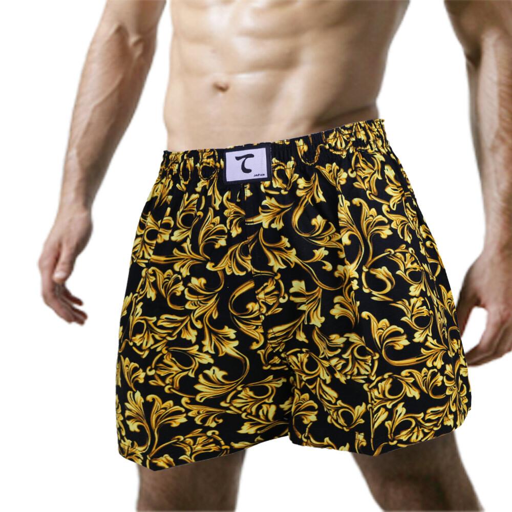 天皇舒適悠閒-花花世界平口褲-黃色