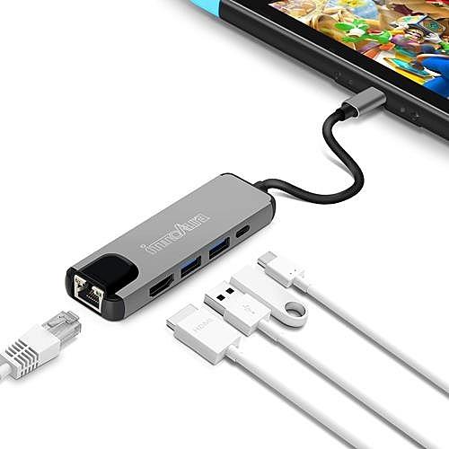 【日本代購】任天堂 Switch HDMI 轉接頭 - innoaura 有線網卡最強5in1功能 Type - C 接口