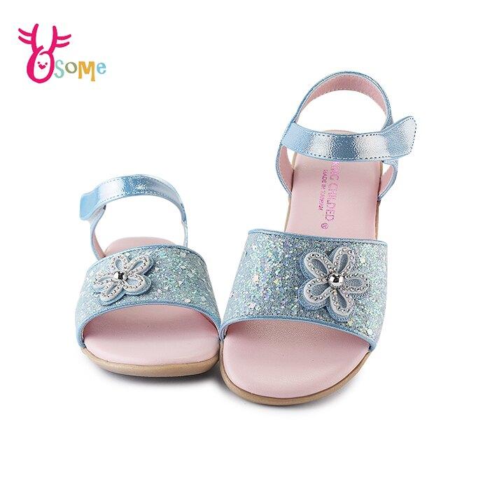 精品兒童涼鞋 女童涼鞋 休閒涼鞋 穿搭涼鞋 小花亮片 J6548#水藍◆OSOME奧森鞋業