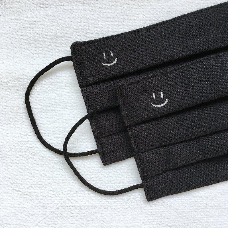 手工刺繡 笑臉 立體布口罩 可洗滌 純棉二重紗 黑色 成人/兒童