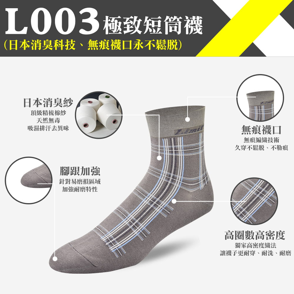 極致短筒襪(格紋灰)