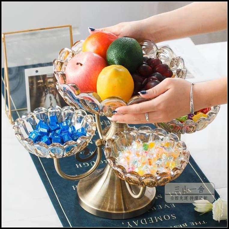 水果盤 歐式水晶玻璃多格糖果盤美式零食盤家用客廳茶幾創意水果盤干果盤