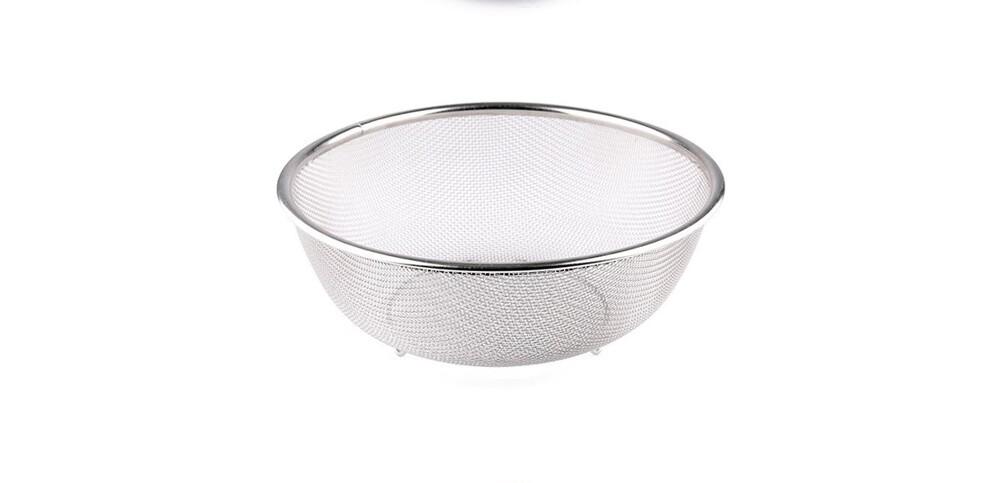 22cm套裝不銹鋼瀝水籃套裝水果籃色拉盆沙拉碗打蛋盆淘米出口日本