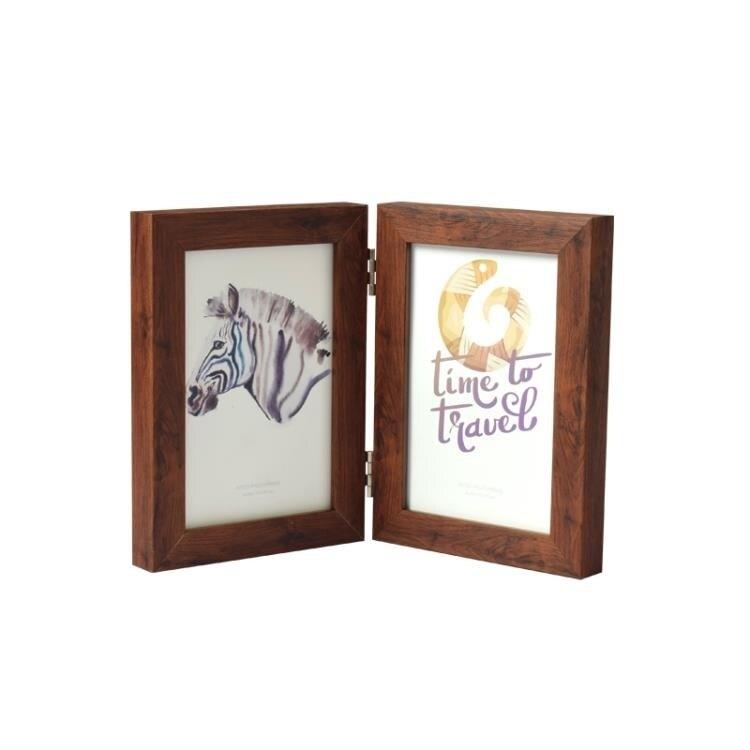 北歐簡約折疊相框擺臺5寸兩折相片框連體相冊情侶組合畫框  新年鉅惠 台灣現貨