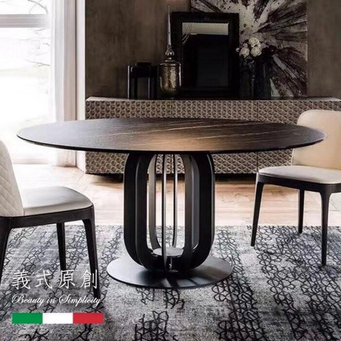 凱迪家具k23-01-6義式輕奢簡約風岩板5尺圓餐桌/可刷卡