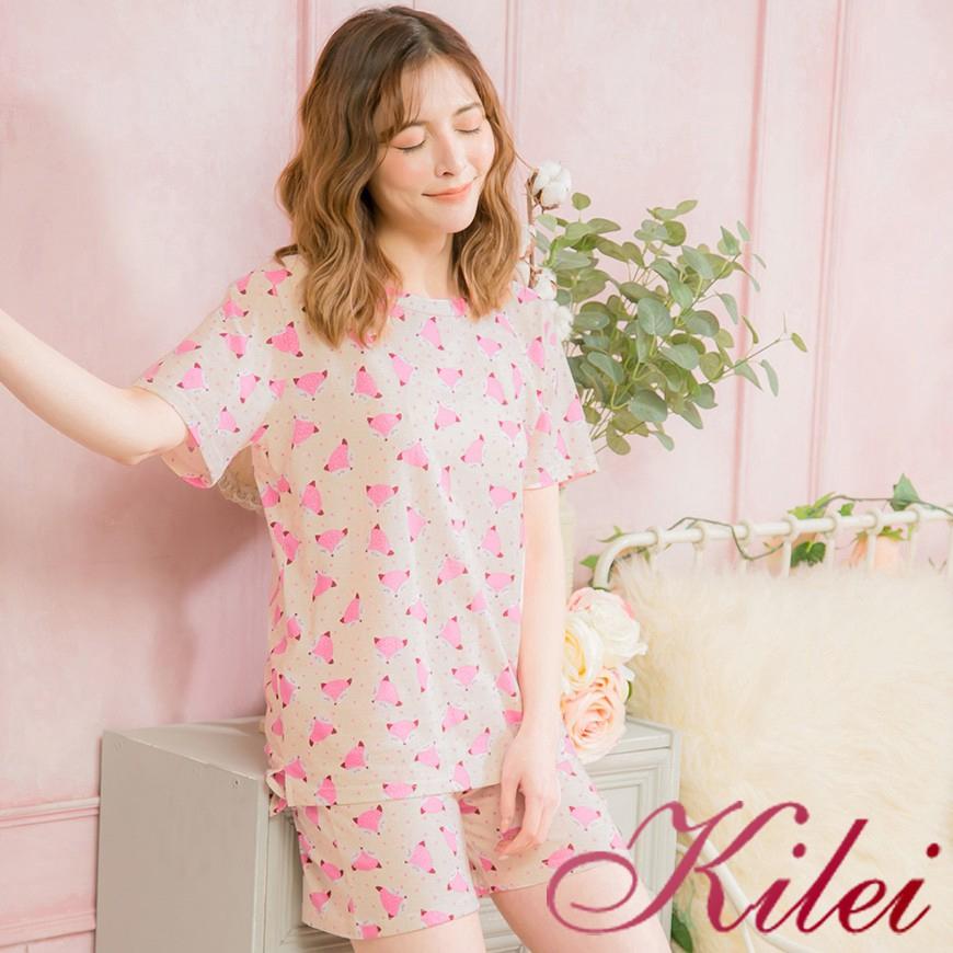 Kilei 狐狸滿版棉質前短後長短袖二件式睡衣組XA4083(溫暖米杏)全尺碼 廠商直送 現貨