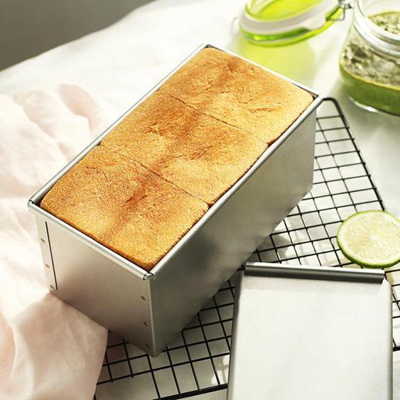 日本cakeland鋼制450g吐司模具 無涂層面包模具家用吐司盒帶蓋