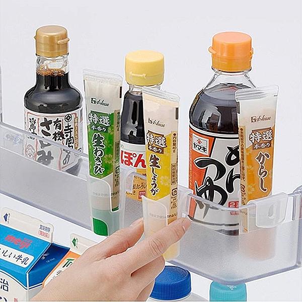日本製造INOMATA冰箱冷藏夾扣式醬料收納架(1盒3入裝)