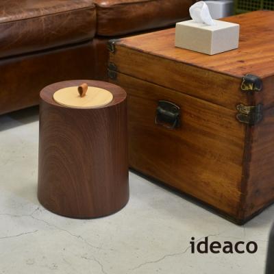 日本IDEACO 胡桃木紋家用垃圾桶-11.4L(附專用原木蓋)