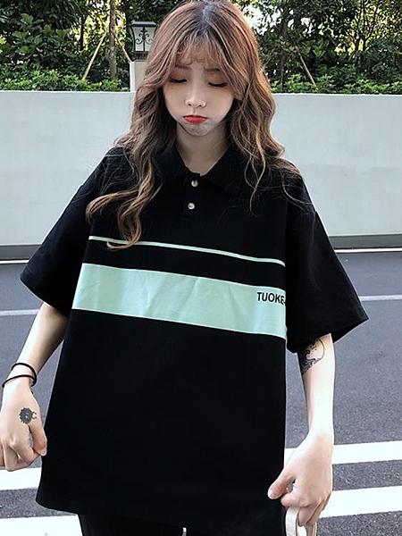 polo衫 polo衫女日系可愛復古港風chi上衣翻領短袖t恤學生寬鬆polo領上衣