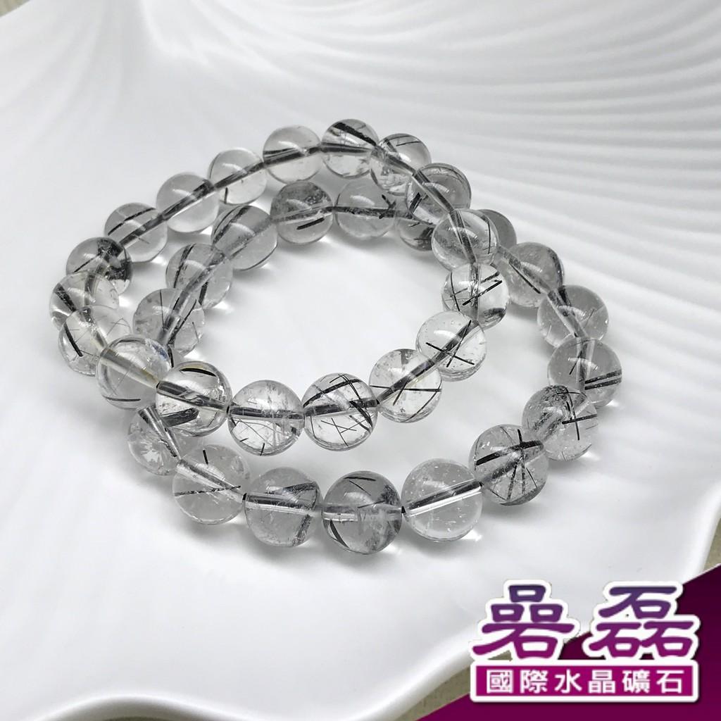 《碞磊國際》黑髮晶 透料 11MM 領導魅力 踏實 消除負能量 手珠【編號】CAWB0031