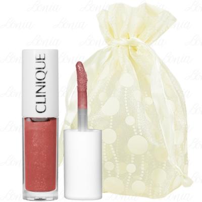 CLINIQUE 倩碧 紐約普普水感鏡光唇釉精巧版(#03 SORBET POP)(1.5ml)旅行袋組