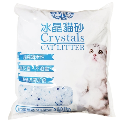 微笑汪喵-抗菌破碎型水晶貓砂9Lb-2入組(原味無香&清新檸檬二口味可選)