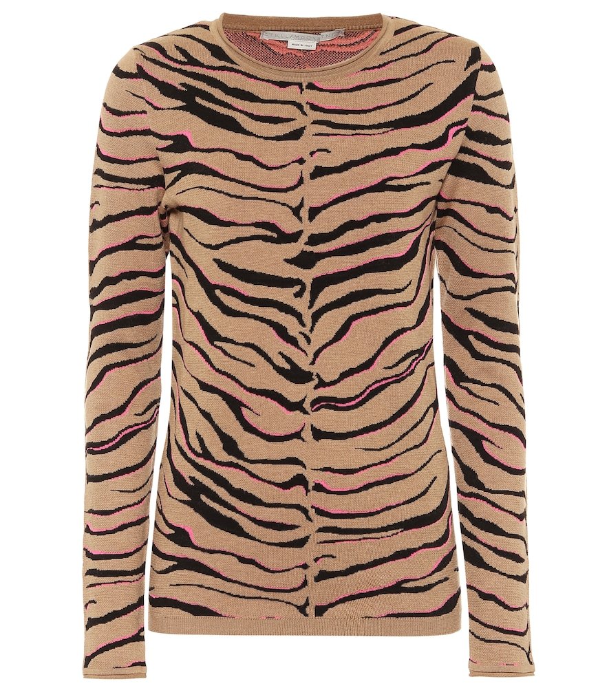 Tiger-print intarsia wool-blend sweater