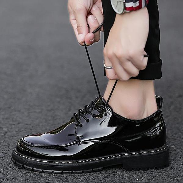 工作鞋 2021春季新款亮皮防水廚師鞋防油小黑鞋廚房上班工作鞋休閒皮鞋男 歐歐