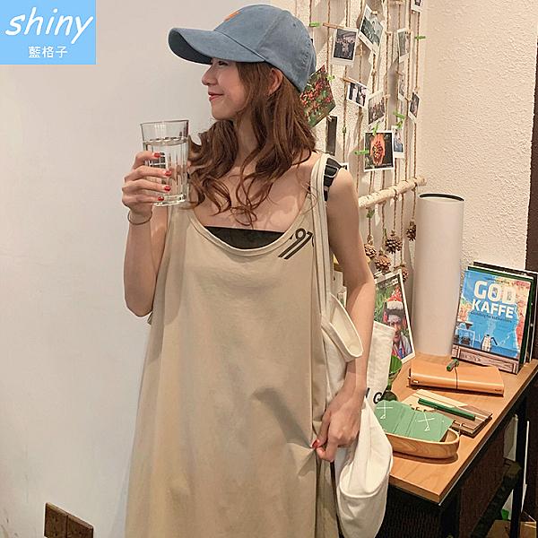 【V9259】shiny藍格子-輕意微夏.純色寬鬆連身吊帶裙