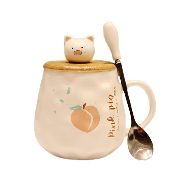 創意卡通陶瓷杯馬克茶杯ins風少女可愛個性咖啡水杯子帶蓋勺潮流