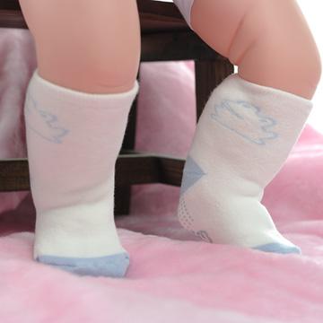 【KEROPPA】可諾帕MIT0~6個月嬰兒厚底止滑1/2短襪x3雙(白配藍)95001-D