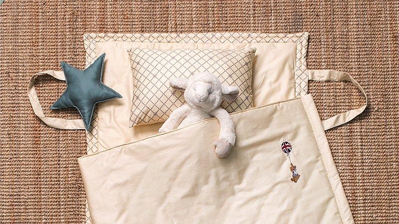 兒童睡墊三件組-100%精梳棉- 貝爾熊 鵝蛋黃