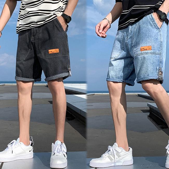 FOFU-牛仔短褲韓版百搭彈力直筒寬鬆時尚休閒牛仔短褲【08B-G0951】
