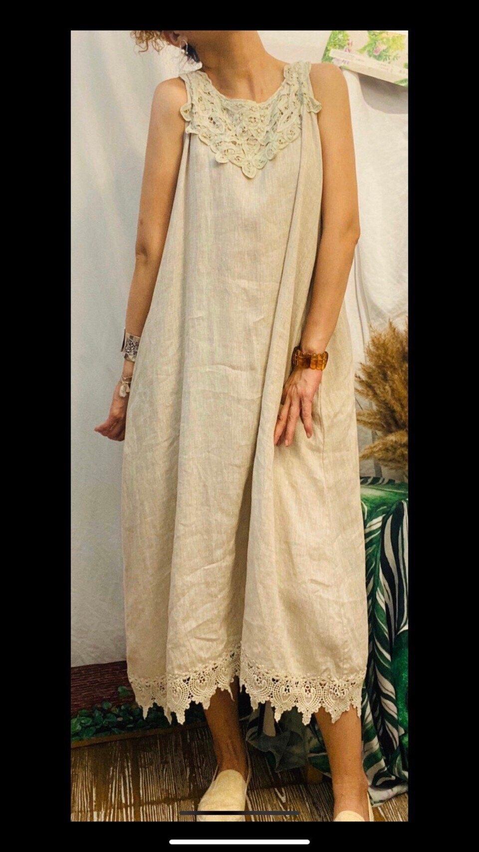 日系 緹花領下擺 無袖 背心 棉麻 洋裝(共3色) *現貨+預購*
