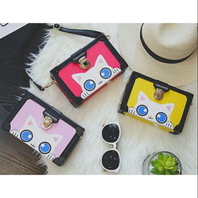【現貨】 韓版 經典 印花 貓貓 小方包 俏皮 可愛 貓咪 包包 肩背包 個性 風格 側背包 喵星人 盒子包 貓咪 探頭