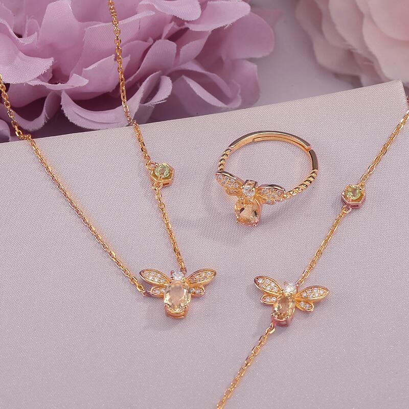 天然黃水晶珠寶套裝女 925純銀18K金大牌小蜜蜂項鏈戒指手鏈輕奢