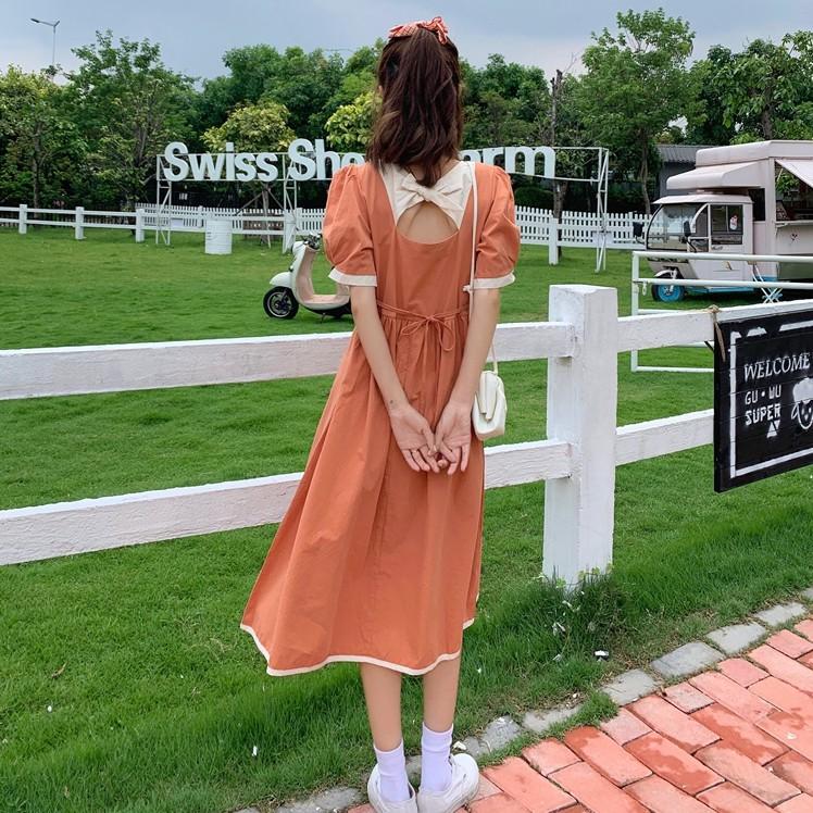34323 方領後背蝴蝶結合身收腰短袖長裙撞色短袖洋裝