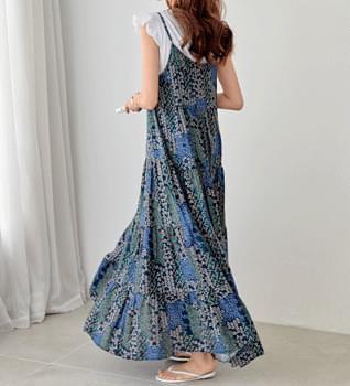 韓國空運 - Mini Pattern Layered Long Dress #37173 長洋裝