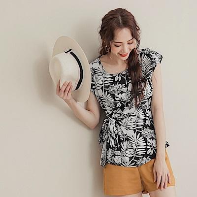 韓系手繪印花拼接側腰綁帶不易皺雪紡上衣-OB大尺碼