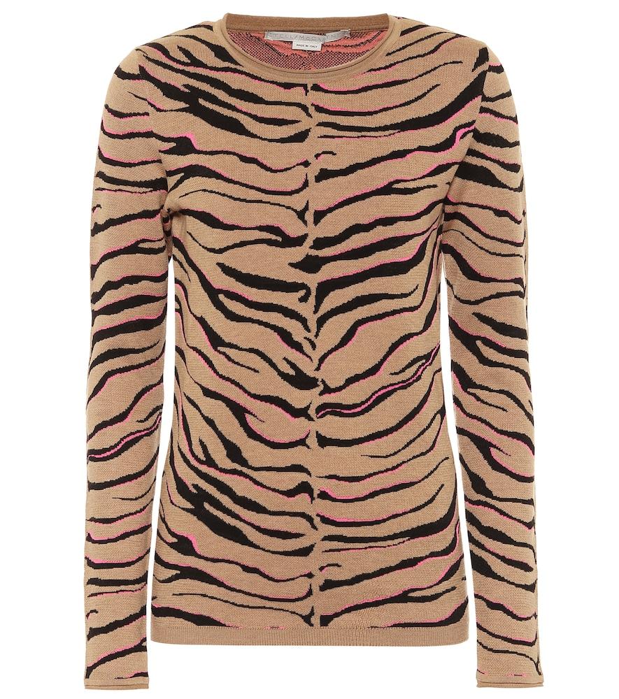 Tiger-print intarsia wool-blend sweater