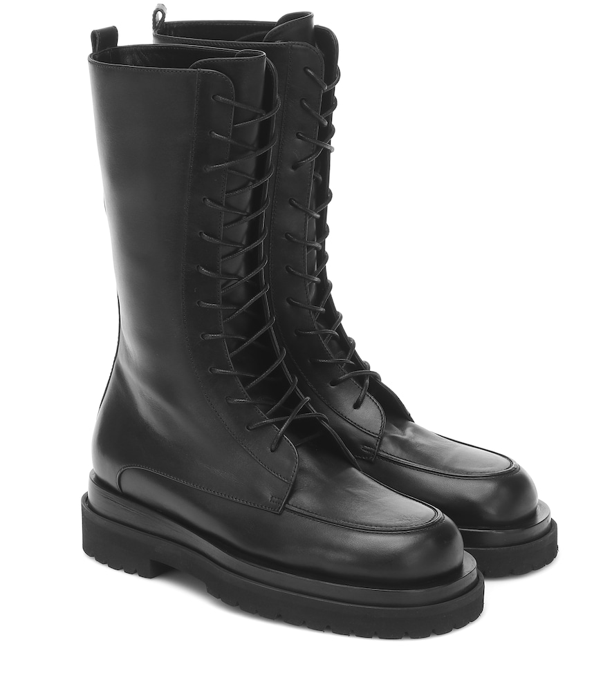 Leather combat ankle boots