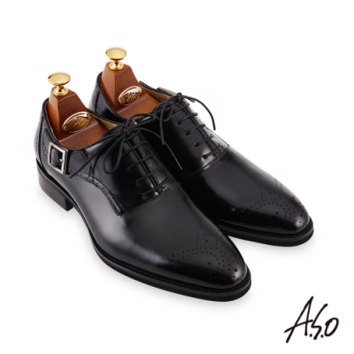 A.S.O 職場通勤 零壓挺力雕花雙色牛津紳士鞋-黑