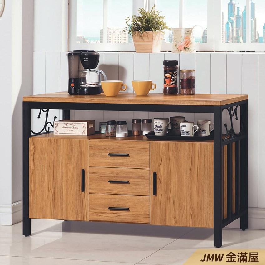 120cm北歐餐櫃收納 實木電器櫃 廚房餐櫥櫃 碗盤架 大理石金滿屋尺餐櫃-q730-1 -