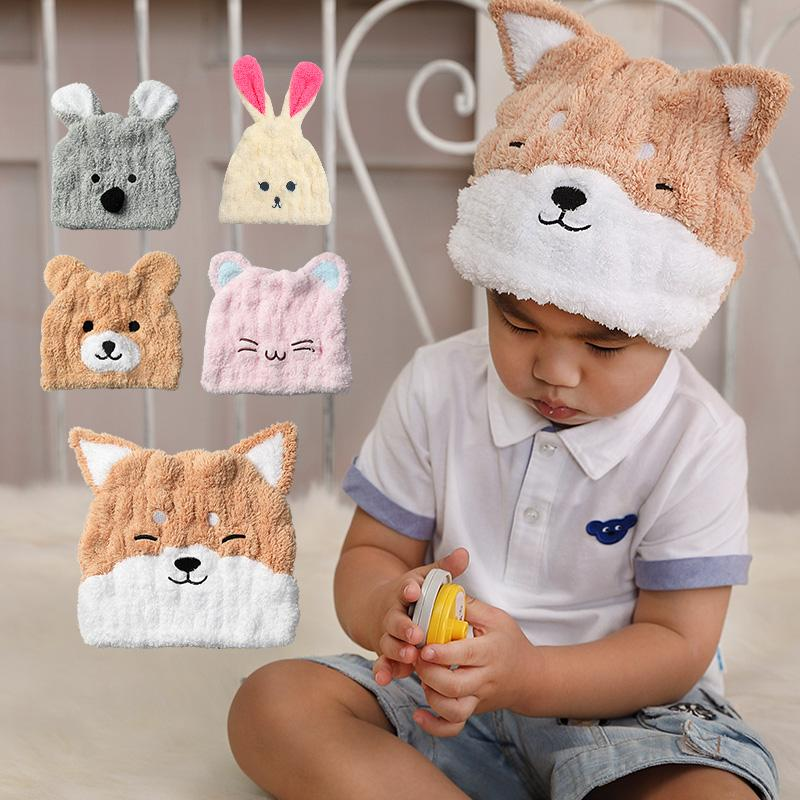 超細纖維動物造型速乾兒童浴帽2入組 柴犬