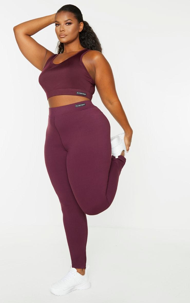 PRETTYLITTLETHING Plus Plum High Waist Gym Legging