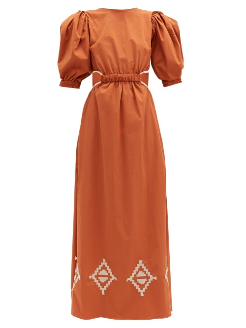 Johanna Ortiz - Smell Of Almond Embroidered Cotton-blend Dress - Womens - Orange