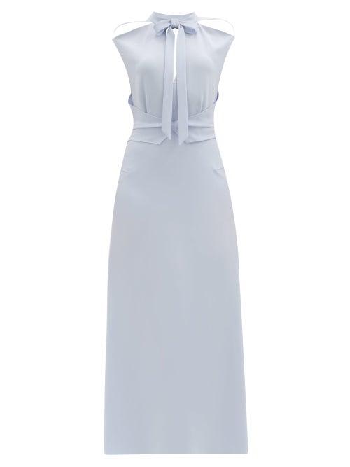 Roland Mouret - Katios Cut-out Cady Midi Dress - Womens - Light Blue