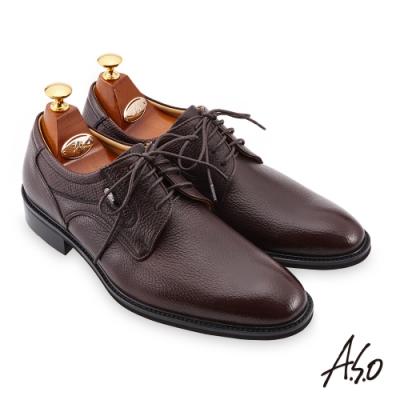 A.S.O  職場通勤 勁步雙核心異材質綁帶紳士鞋-咖啡