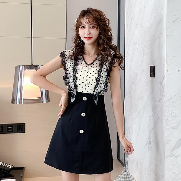 VK旗艦店 韓國風名媛波點印花蕾絲拼接氣質短袖洋裝