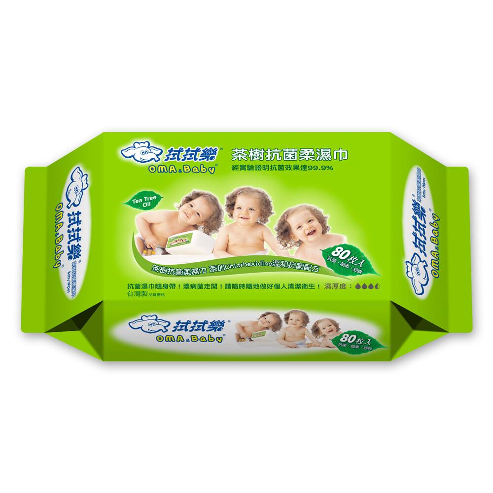 拭拭樂 茶樹抗菌柔濕巾(80抽x12包)